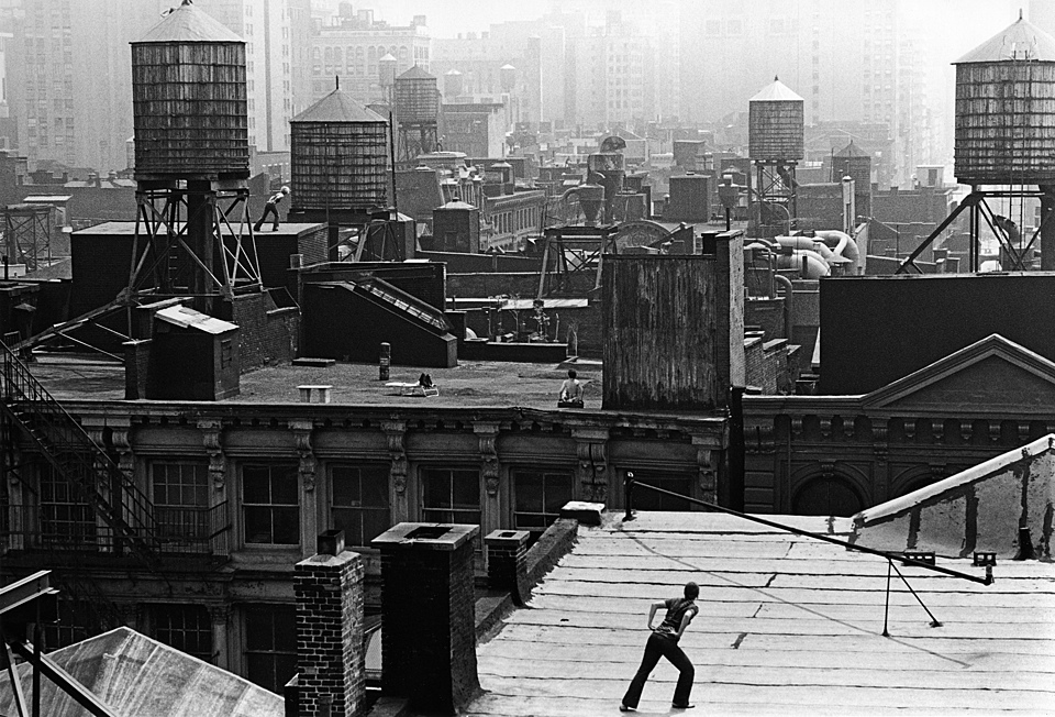 "Babette Mangolte, Trisha Brown ""Roof Piece"", 1973, 53 Wooster Street to 381 Lafayette Street, New York City"